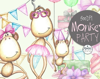 Monkey Clipart Watercolor,Cute Monkeys,Monkey Invitation,Monkey Party,Birthday,Printable,Instant Download, Planner Stickers,Invitation