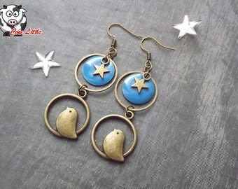 Earring bronze ring and sequins blue birdie