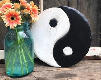 Rustic yin yang wooden sign