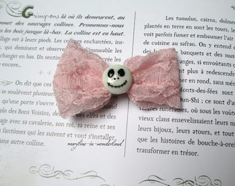 Pink skull and lace bow Barrette