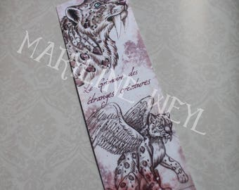 "Bookmark ""book of strange creatures"" saber tooth Tiger"