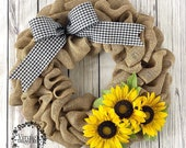 Sunflower Burlap Wreath with Gingham Bow, Spring Burlap Wreath, Sunflower Wreath, Everyday Wreath, Housewarming, Mother's Day, Farmhouse