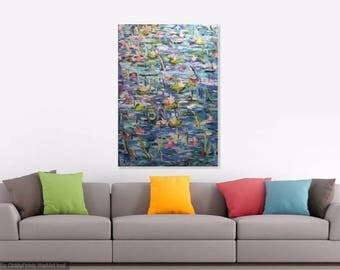 Original oil painting LARGE Rafael Ruz lily pond impressionist art signed incl COA + Freight оригинальные произведения искусства 原画
