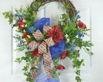 4th of July Door Wreath - Patriotic Wreath - American Flag Wreath - Memorial Day Door Wreath - American Wreath - Patriotic Door Wreath