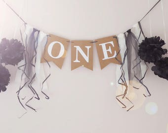 First birthday party decor, birthday banner, cake smash photo prop