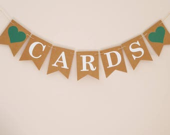 Wedding cards banner bunting, greenery wedding decoration, emerald green, any colour