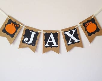 Personalised bunting, Baby shower, Pumpkin birthday, Autumn baby shower, harvest party