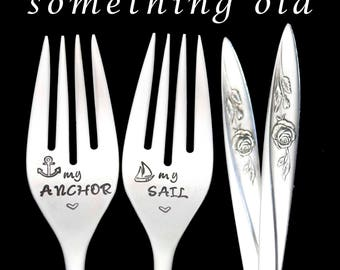 Stamped Wedding Forks My Anchor My Sail Something Old Vintage Engraved Flatware Engagement Gift Nautical Theme Wedding Bride Groom Forks