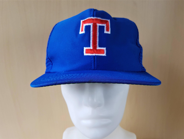 hot sale online ac2f7 888f8 ... discount texas rangers original vintage 80s official licensed mlb blue  mesh trucker snapback hat major league
