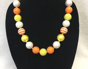 Candy Corn Inspired Orange, Yellow and White Halloween Chunky Necklace