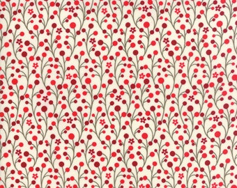 Jingle Birds by Keiki for Moda - 33253-11 - Red Vines, Berries - Christmas Fabric, Christmas in July, IN STOCK