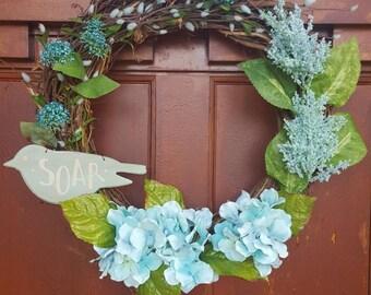 Door Wreath, Spring Wreath, Hydrangea, Grapevine Wreath, Soar, Front Door Decor, Aqua Floral, Aqua Wreath, Door Hanger, Bird Wreath, Blue