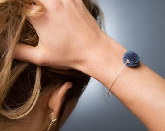 Final SALE Pompom Bracelet, Cute Bracelet, Silver Beads, Delicate Bracelet, Friendship Bracelet, Bridesmaids Gifts, Boho Bracelet, Pompom
