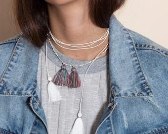 Final SALE ON SALE  Sterling silver beaded necklace,Tassel charm necklace,Silver beads,Tassel jewelry,Silver jewelry,Double tassel,Silver