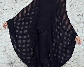 ON SALE Batwing Top, Black Sheer Blouse, Black Wing Sleeve Blouse, Batwing Winter Blouse TT106, Black Loose Blouse by Teyxo