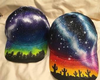 Kids Galaxy Hat - Custom Painted, Milky Way, Forest, Desert, Starscape, Aurora Borealis, Nebula, Space, Headwear, Fashion, Hats, Childrens