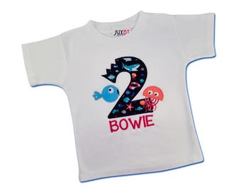 Boy Shark Bite 'Under the Sea' Birthday Shirt with Number and Name