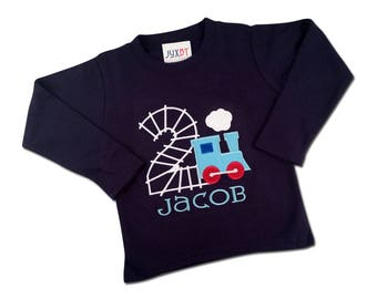 Boy's Train Birthday Shirt with Train Track Number and Embroidered Name