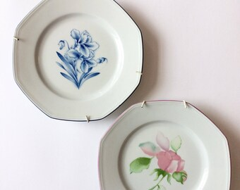 Vintage French decorative plates, shabby chic home decor