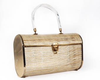 Vintage 50s MAJESTIC Basketweave Lucite Handbag, Gold and White Barrel Purse, Box Bag, Bridal Purse, Formal Evening Bag