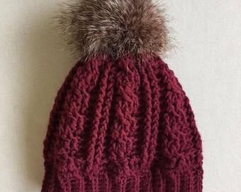 Cable knit cable crochet hat faux fur pompom