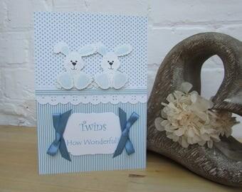 Handmade Birth Card for Twin Boys