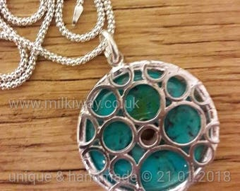 Turquoise gemstone jewellery artisan silver contemporary jewellery blue necklace on silver chain