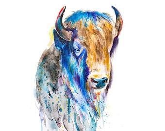 Watercolor american buffalo print, bison print, bison wall art, watercolor buffalo, animal painting, watercolor print, wild animal art - R20