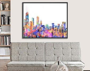 Chicago cityscape, Chicago poster, Chicago print, Chicago skyline, cityscape art, Chicago poster, watercolor art, travel decor, travel art