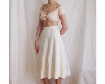 70s High Waist Midi Skirt XS S