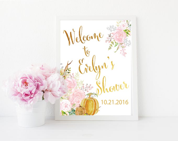 "Fall Welcome Sign //Fall Baby Shower // Roses // Fall Bridal Shower // 8x10"" // Watercolor // Pumpkin // Pink // CARMEL COLLECTION"