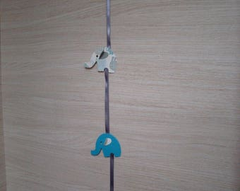 """Parade of elephants"" Garland blue & grey"
