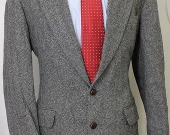 Vintage 40L Deansgate Gray Herringbone Tweed Sport Coat Blazer Jacket SE6