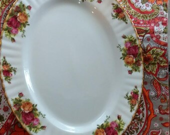 1962 Royal Albert Old Country Roses Bone China England Oval Platter