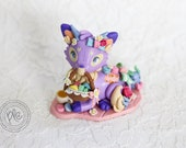 Polymer Clay Deerfox Figurine / Cute Tea Party Deerfox Collectible / Miniature Deerfox Sculpture In Purple
