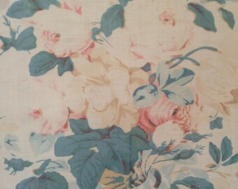 Beautiful faded to perfection antique cabbage roses textile fabric ~ projects