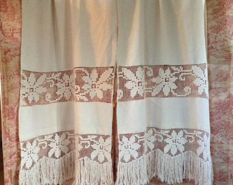 Gorgeous super 101 inch long antique FRENCH linen hand worked crochet filet lace curtains with deep tasseled fringe~ beautiful display