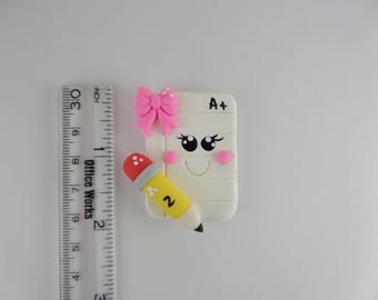 A+ School sheet paper . Clay Charm Bead, Scrapbooking, clay Bow Center, Pendant, Cupcake topper, Magnet 3003