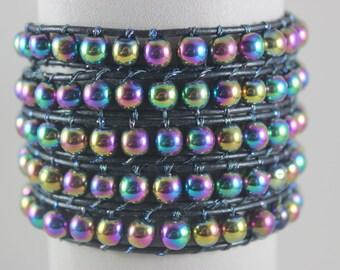 WRAP bracelet sky Hematite Rainbow beads