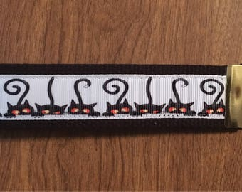 Black Cat Key Chain Zipper Pull Wristlet