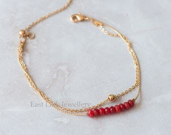 Handmade petite style 14K Gold plated natural stone July Birthstone bracelet birthday gift beaded chain bracelet
