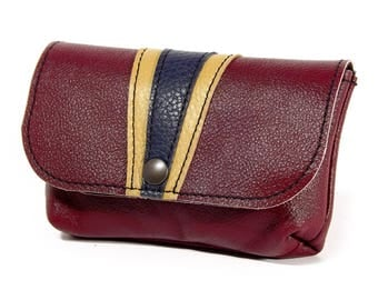 Tobacco pouch / Burgundy leather tobacco pouch