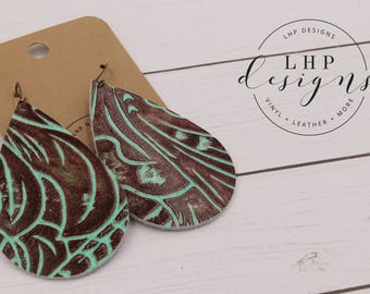 Cognac Brown and Mint Western Tooled Earrings