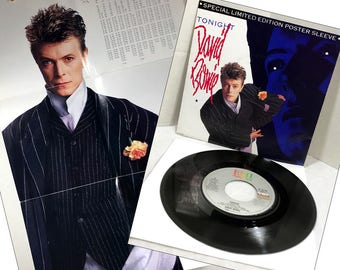 David Bowie Tonight- Tumble and Twirl vinyl record 45 rpm and 1985 Limited Edition Poster Sleeve 14 x 21 VG+/EX