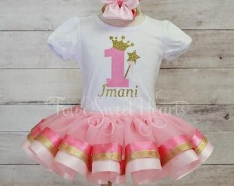 Princess Birthday Outfit, Princess Tutu Outfit, Girls Pink and Gold Birthday Outfit, Pink and Gold Tutu Outfit, Girl Birthday Outfit
