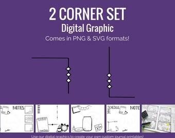 Digital Graphics - 2 Corner Set (png and svg) Bullet Journal Digital Stickers