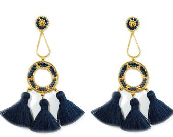 Extra long Geometric Earrings Gold Beads and Navy Blue Tassel Trends Summer Fashion Jewelry Gift Idea for Women Statement Piece