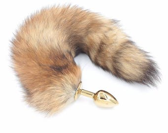 Genuine Fox Tail Butt Plug Mature BDSM Gold DDLG