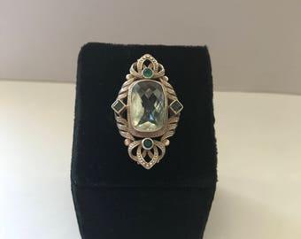 Sterling silver aquamarine ring- size 7.5- vintage ring- sterling silver- aquamarine