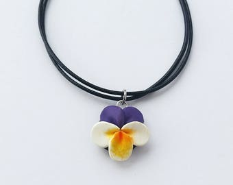 SALE Purple Pansy Choker Necklace